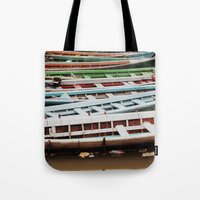 boats Tote Bags featuring Boats by BTP Designs
