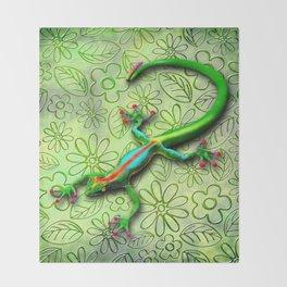 Gecko Lizard Rainbow Colors Throw Blanket