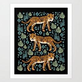 Tiger forest tropical tigers screen print art by andrea lauren Art Print