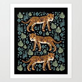 Tiger forest tropical tigers screen print art by andrea lauren Kunstdrucke