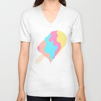 popsicle V-neck T-shirts featuring Popsicle Illusion by Popsicle Illusion