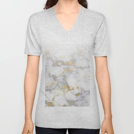 Blush chic faux gold gray gradient marble Unisex V-Neck