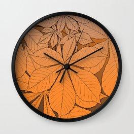 Orange chestnut leaf ornament Wall Clock