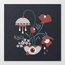 Dark Funky Flowers Canvas Print