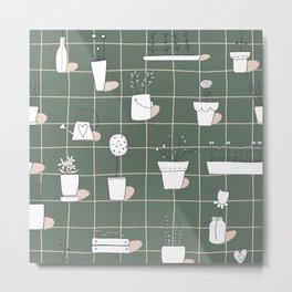 Boho Garden Pots Metal Print