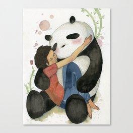 Cuddling with Panda Canvas Print