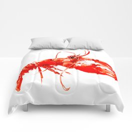 Red Kitchen Seafood Red Lobster design, art, painting Boston Comforters