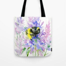 Bumblebee and Lavender Flowers, nature bee honey making decor Tote Bag
