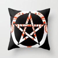 pentagram Throw Pillows featuring Pentagram by Littlefox
