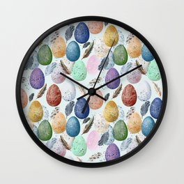 Pattern with eggs and feathers. Wall Clock