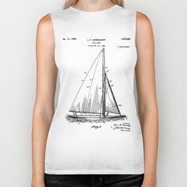 Sailboat Patent - Yacht Art - Black And White Biker Tank