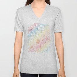 mostly harmless - rainbow Unisex V-Neck