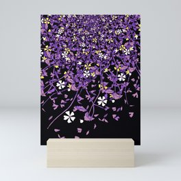 Nonbinary Pride Scattered Falling Flowers and Leaves Mini Art Print