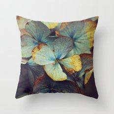 Hydrangea Dream - Blue & Gold Throw Pillow