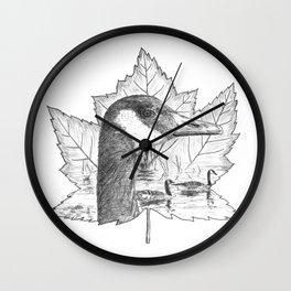 Canada Goose on Maple Leaf Wall Clock