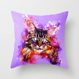 squinting maine coon cat splatter watercolor Throw Pillow