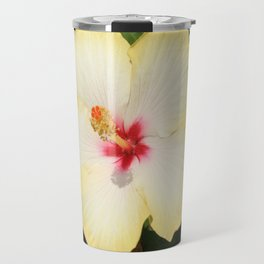 Pale Yellow Hibiscus Flower - Front View  Travel Mug