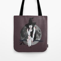 carmilla Tote Bags featuring natasha the vampire witch by Ana Rocha