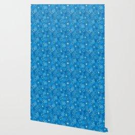 Snow Flurries in Blue Wallpaper