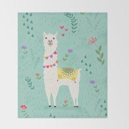 Festive Llama Throw Blanket