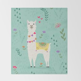 Festive Llama Throw Blanket