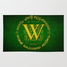 Joshua 24:15 - (Gold on Green) Monogram W Rug