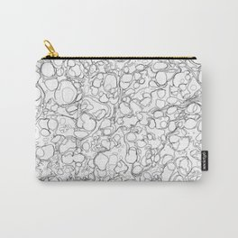 Black and White Ink Pen Lines Bubbles Pattern Carry-All Pouch