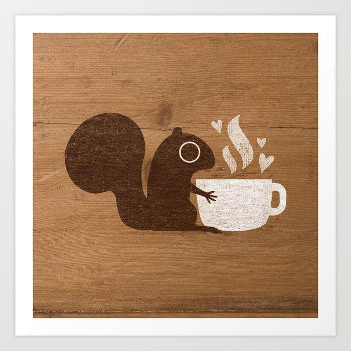 Squirrel Coffee Lover Kunstdrucke
