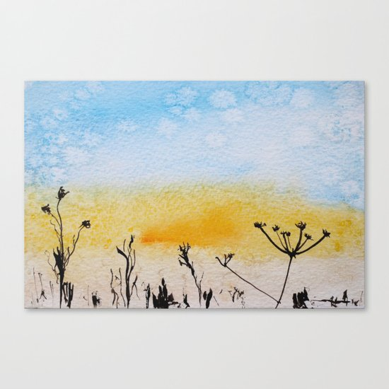 Summer sunrise in watercolor Canvas Print