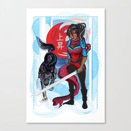 wolf and woman, original wall decor art Canvas Print