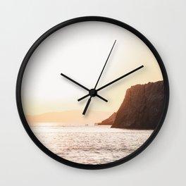 Sunset at Melinda Beach | Lesvos Greece Travel Photography | Golden Hour Photo Print Wall Clock