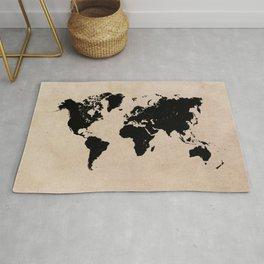 world map 94 black #worldmap #map #world Rug