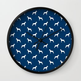 Doberman Pinscher dog pattern navy and white minimal dog breed silhouette dog lover gifts Wall Clock