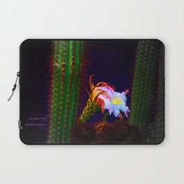 """Cactus Flower At Sunset #105"" Photograph Laptop Sleeve"
