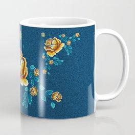 Yellow Embroidery Rose Coffee Mug