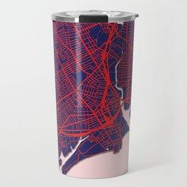 Bridgeport, CT, USA, Blue, White, City, Map Travel Mug
