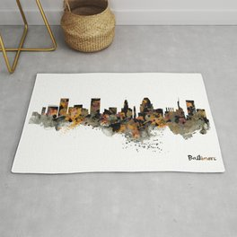 Baltimore Watercolor Skyline Rug