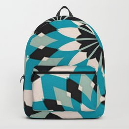 Teal Blue, Grey and White Floral Abstract Backpack
