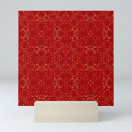 Red Mandala Pattern Mini Art Print