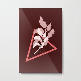Minimal Modern Earthy Leaves Metal Print