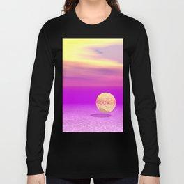 Adrift, Abstract Gold Violet Ocean Long Sleeve T-shirt