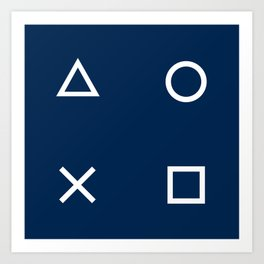 Gamepad Symbols Pattern - Navy Blue Art Print