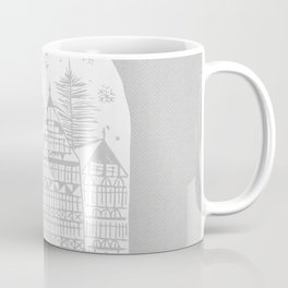Linocut White Holidays Coffee Mug