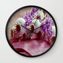 Opium poppy capsule Lavender flower still life Wall Clock