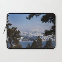 Snow Capped Mountain Pine Tree Lined Lanscape Colored Canvas Wall Art Print Laptop Sleeve