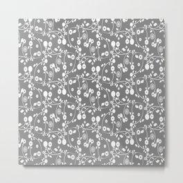 Gray Floral Pattern Metal Print
