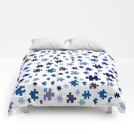 Jigsaw pieces of bluish colors. Comforters