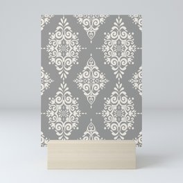 Modern Floral Damask Pattern – Neutral Medium Gray and Light Beige Mini Art Print