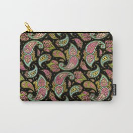 Pink and Blue glitter Gold Paisley  on black Carry-All Pouch