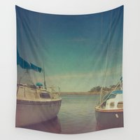 boats Wall Tapestries featuring Two Boats by Olivia Joy StClaire